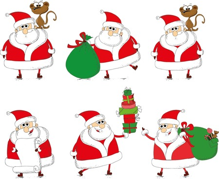 clauses: Christmas set of santa clauses