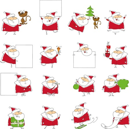 santa clause: Christmas set of santa clauses