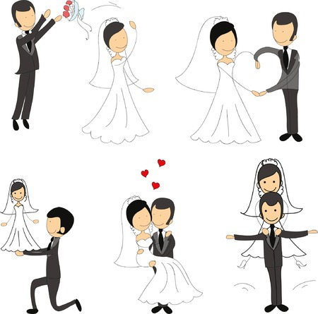 사랑에 웨딩 사진, 신부와 신랑의 설정 일러스트