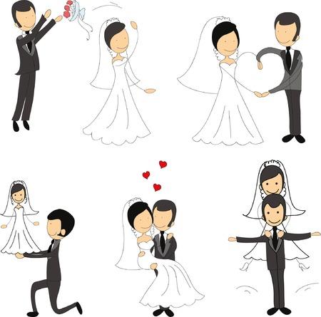 Set of wedding pictures, bride and groom in love Иллюстрация