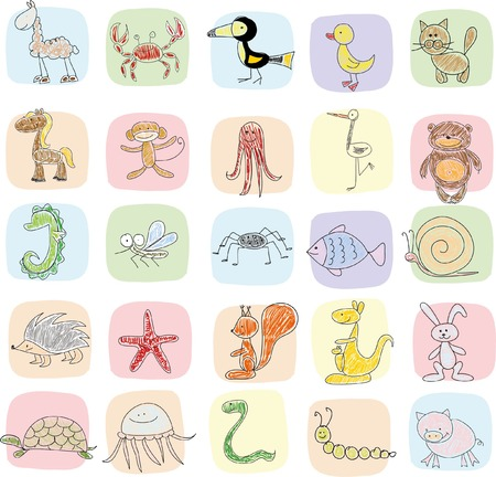 school of fish: Childrens drawings of doodle animal icons