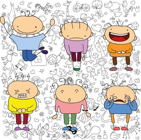 Kinderzeichnungen von doodle Emotionen der Menschen Standard-Bild - 51084650