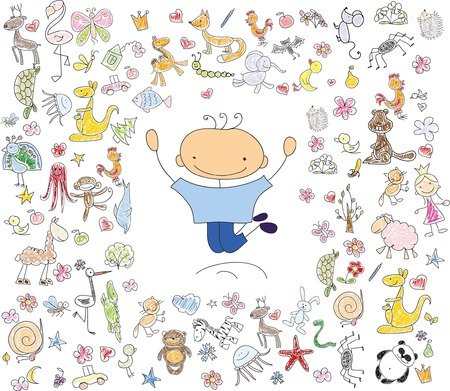 Childrens drawings of doodle emotion of people Illustration