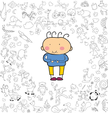 Childrens drawings of doodle different emotions Illustration