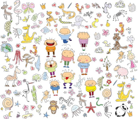 Childrens drawings of doodle animals, people, flowers Illustration