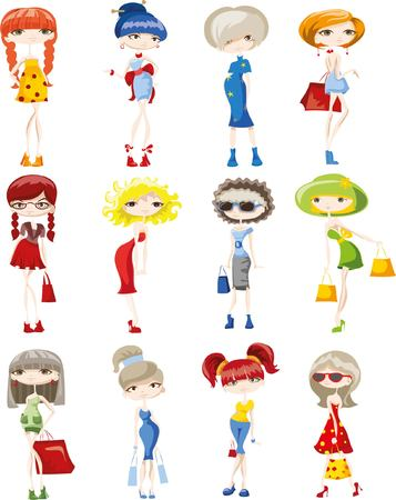 calcanhares: meninas elegantes dos desenhos animados Ilustração