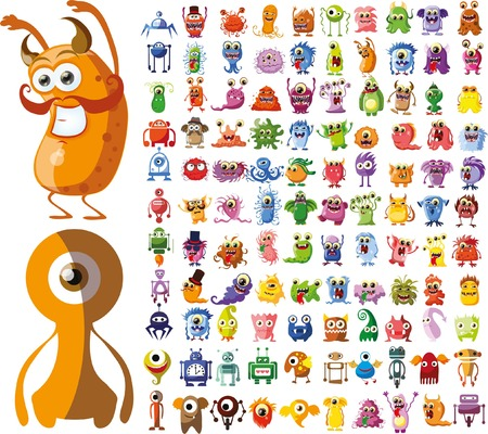 alien symbol: Large vector set of drawings of different characters Illustration