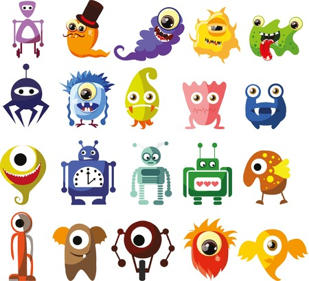 cute alien: Vector set of drawings of different characters Illustration