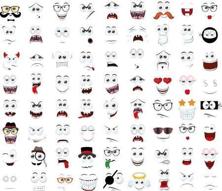 Ensemble de bande dessinée face avec différentes émotions Vecteurs