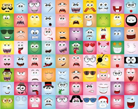 sad love: Set of cartoon faces with different emotions
