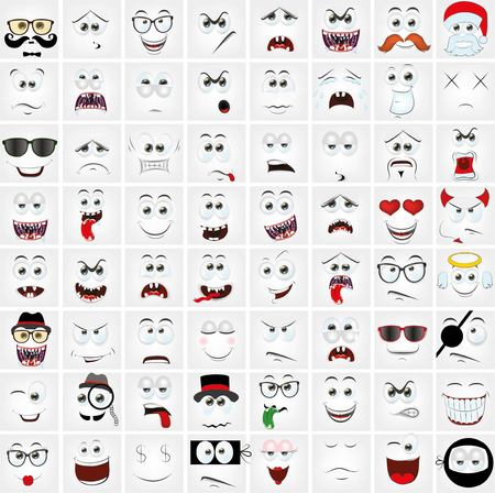angry people: Set of cartoon faces with different emotions
