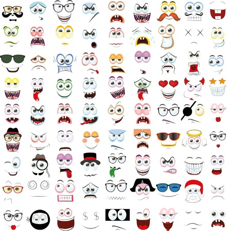 laugh emoticon: Set of cartoon faces with different emotions