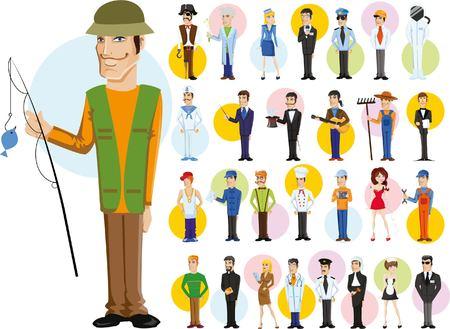 profesiones: Personajes de dibujos animados de diferentes profesiones