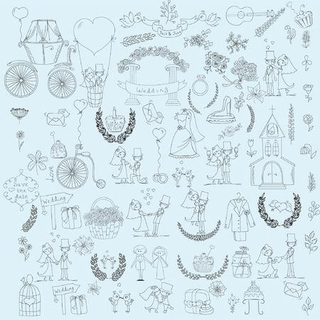 pareja de esposos: Conjunto de boda Doodle para tarjetas de invitación