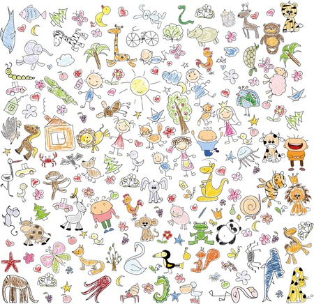 Children's drawings of doodle animals, people, flowers Stock fotó - 54079967