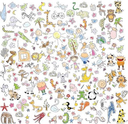 Kinderzeichnungen von doodle Tiere, Menschen, Blumen Standard-Bild - 54079967