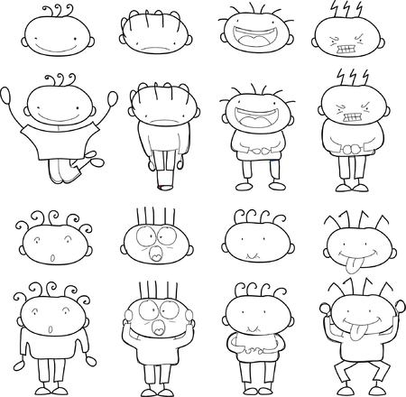 Children's drawings of doodle different emotions