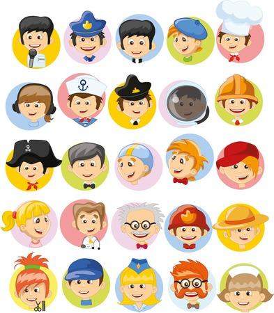 Personajes de dibujos animados de diferentes profesiones