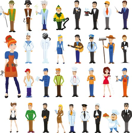 postman: Cartoon characters of different professions