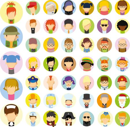 blonde teenager: Set of cute character avatar icons in flat design Illustration