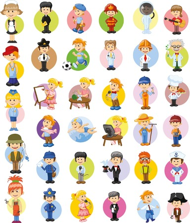 cook cap: Cartoon vector characters of different professions