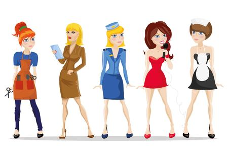 secretary: Cartoon vector characters of different professions