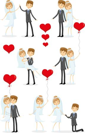 wedding dress: Set of wedding pictures, bride and groom in love Illustration
