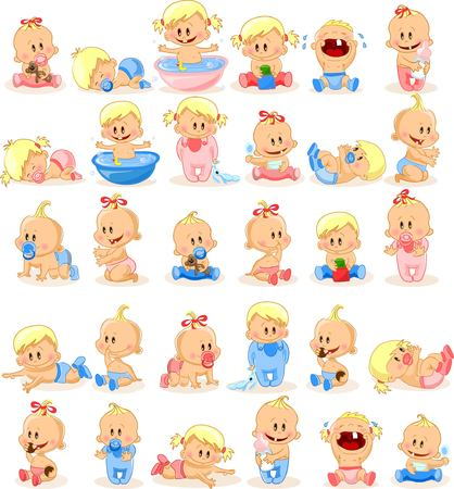 baby boys: illustration of baby boys and baby girls
