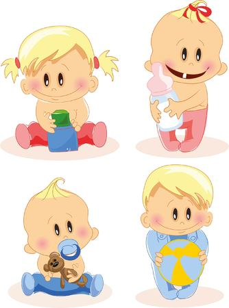 hysterical: Vector illustration of baby boys and baby girls Illustration