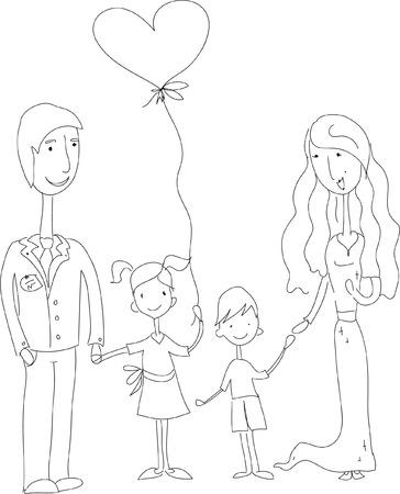 Kinder kritzeln der glücklichen Familie Standard-Bild - 55785439