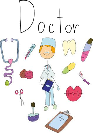 children's doodle of doctor Ilustracja