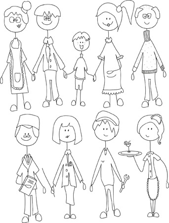 black family smiling: childrens doodle of happy family