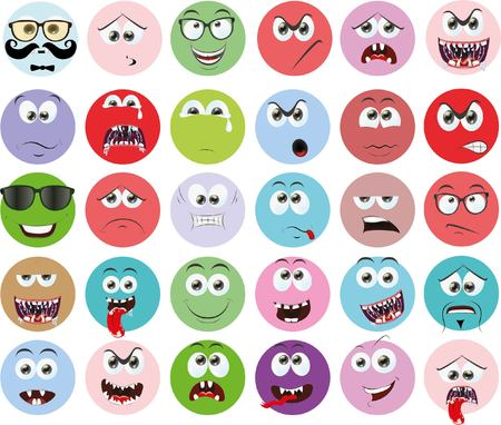 disappoint: Set of cartoon faces with different emotions