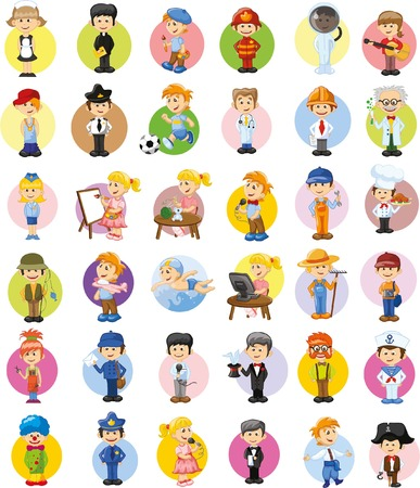 profesiones: Cartoon characters of different professions