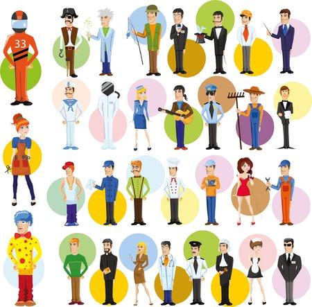 Personajes de vectores de dibujos animados de diferentes profesiones Foto de archivo - 58901689