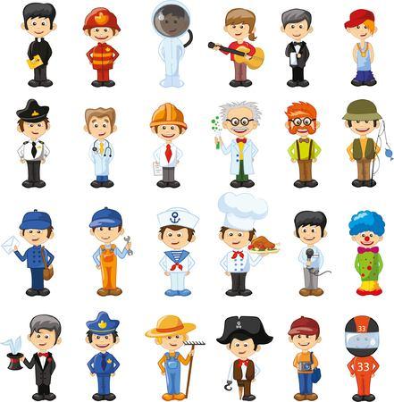 medico caricatura: Personajes de vectores de dibujos animados de diferentes profesiones Vectores