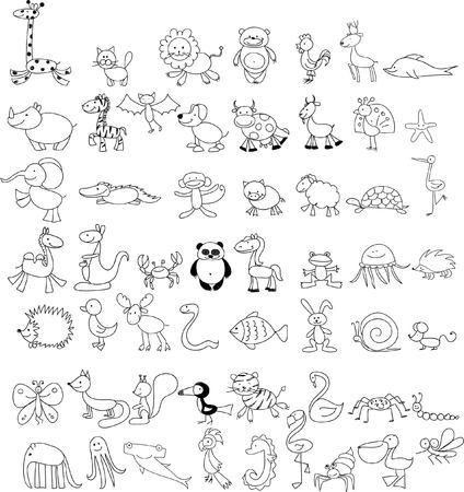 Set of cute doodle cartoon animals Ilustração