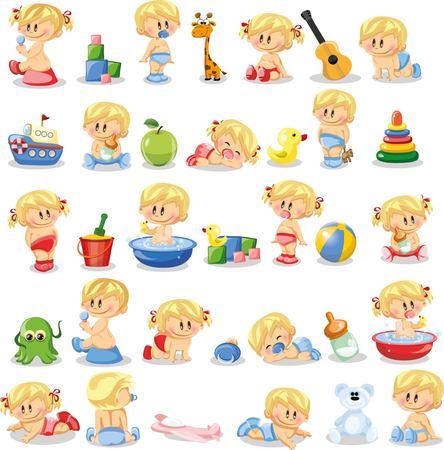 Ilustración vectorial de los bebés y los bebés Ilustración de vector