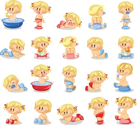 baby boys: Vector illustration of baby boys and baby girls Illustration