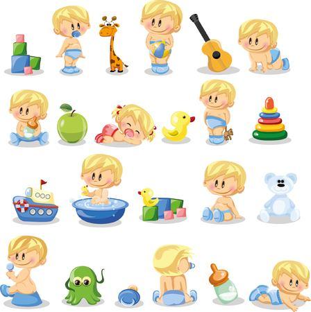 baby boys: Vector illustration of baby boys