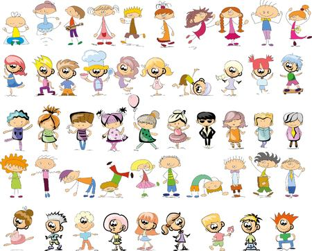 baby girl: Cute happy cartoon doodle kids Illustration