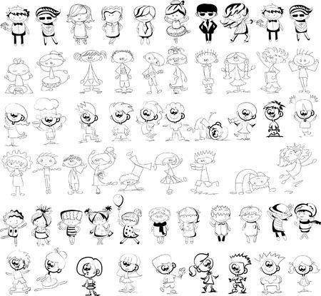 happy kids: Cute happy cartoon doodle kids Illustration
