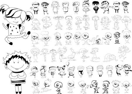 nice girl: Cute happy cartoon doodle kids Illustration