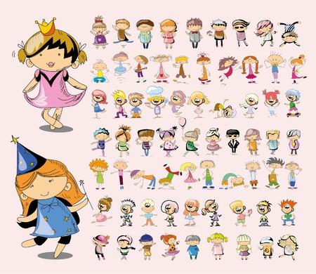 niño escuela: Lindos niños felices doodle del dibujo animado