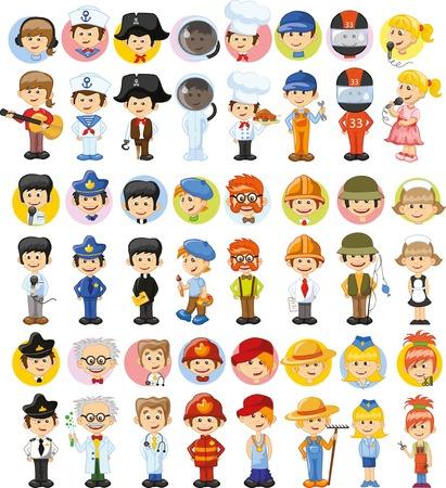 Cartoon Vektor-Zeichen von verschiedenen Berufen