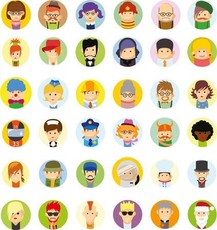 blonde teenager: Set of vector cute character avatar icons in flat design