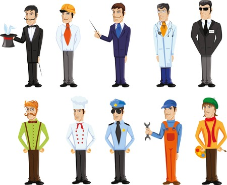 diferentes profesiones: Cartoon vector characters of different professions