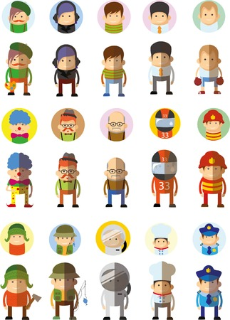 pretty blonde girl: Set of vector cute character avatar icons in flat design
