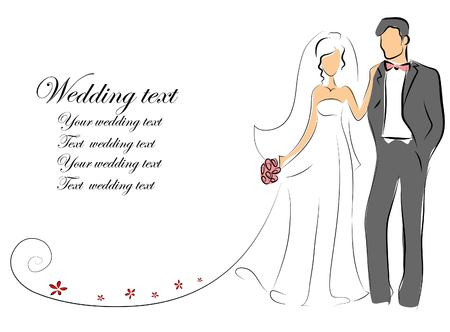 Wedding pictures, bride and groom in love Illustration