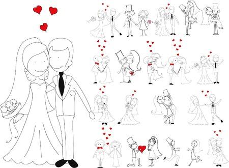 Conjunto de fotos de la boda, la novia y el novio en el amor Foto de archivo - 63513247